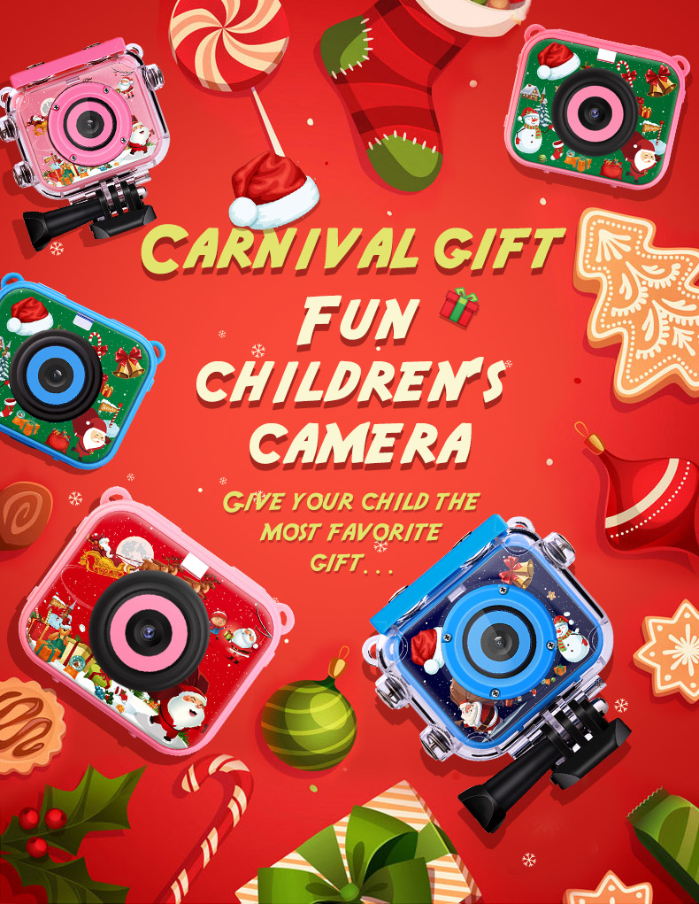 2020 Cute Waterproof Christmas kid camera HD 1080p photo children video action camera