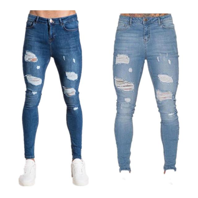Оптовая продажа стрейч 2020 джинсовой ткани Штаны Узкие рваные джинсы
