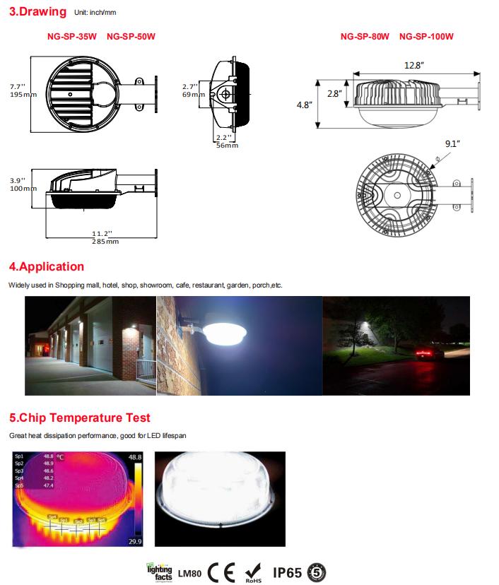 LED luzes de Jardim 35 W IP65 à prova d' água livre de poeira substituir 150 W de iodetos metálicos estacionamento jardim luz AC100 ~ 277 V 5 anos de garantia