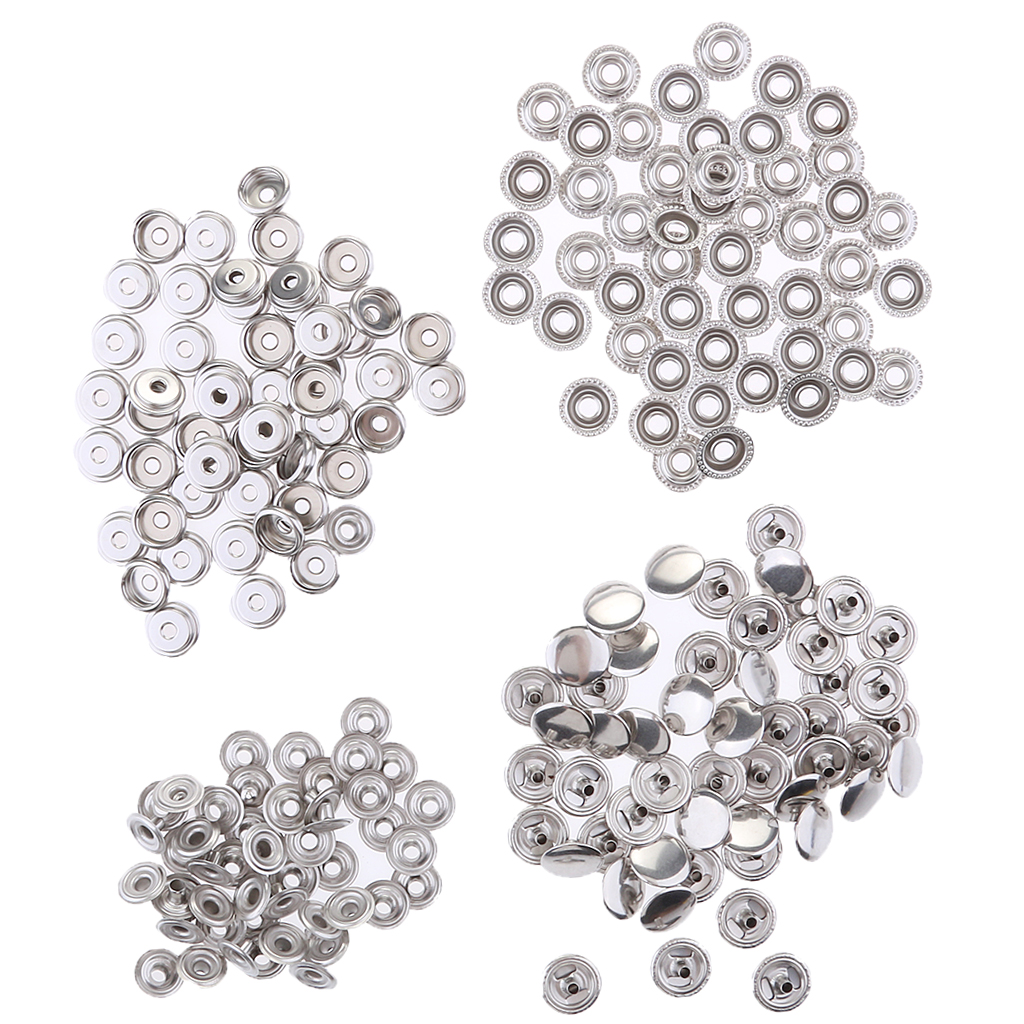 100pcs Stainless Steel Press Studs Fastening Button With Tool Fit For Sewing Craft, Home Improvement