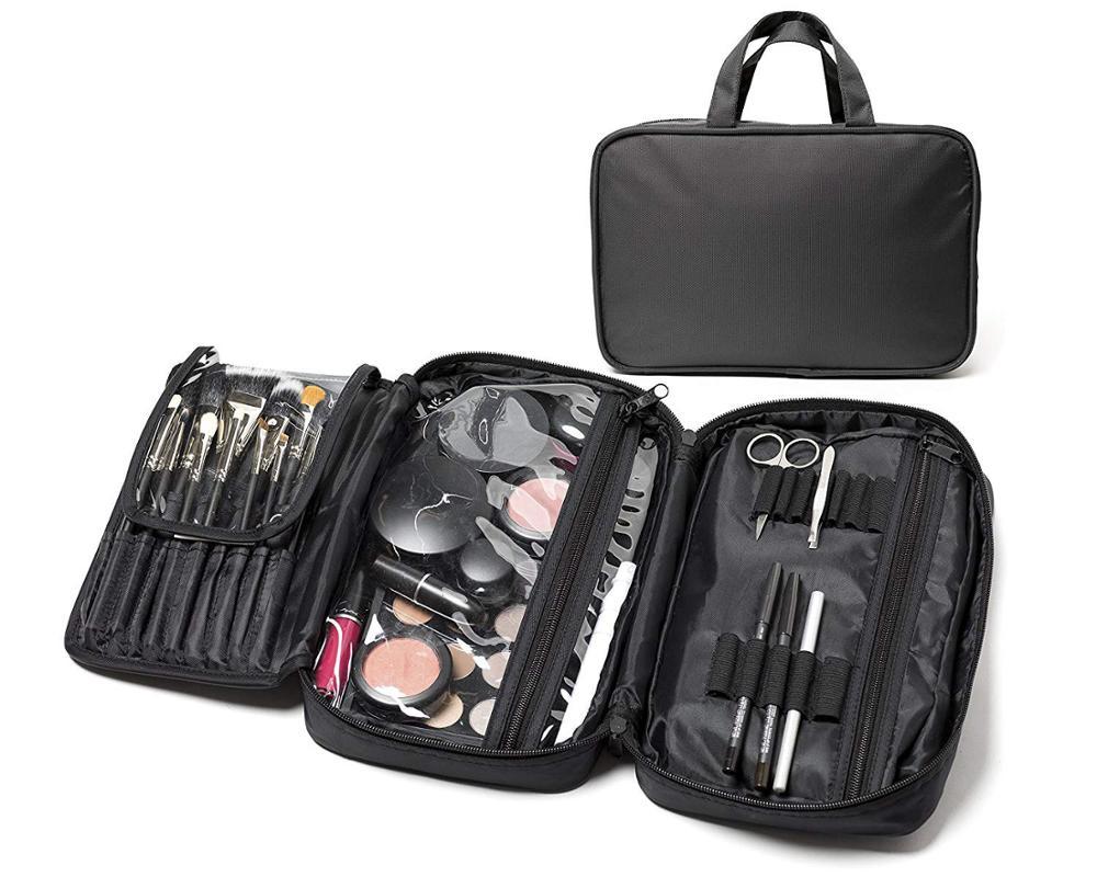 Siyah 900D polyester çanta kozmetik düzenleyici profesyonel moda boş makyaj çantası asılı