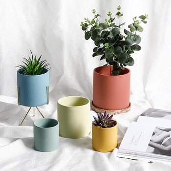 Ceramic Planter Flower Plant Pot with Drain Hole Full Depth Cylinder - Minimalism for Indoor planters , Blue