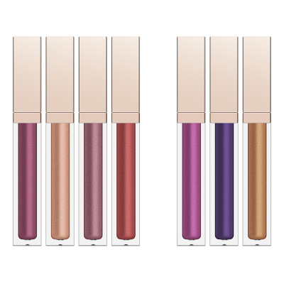 Print Logo Long Lasting Magic Shinny Color Glitter Lead Free Mineral Lipstick Metallic Liquid Metal Square Lipgloss