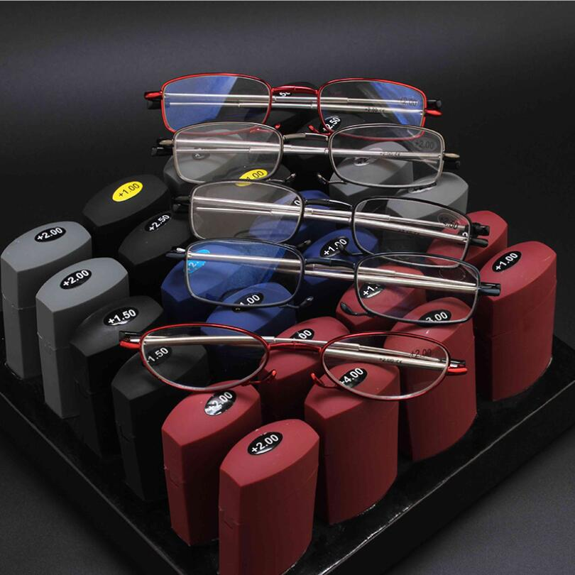 Metal Foldable Compact Mini Folding Reading Glasses with Case