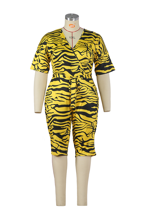 2020 Summer Women Jumpsuit Leopard Print Short Sleeve Wrapped In Chest Fashion Leisure 202004305088