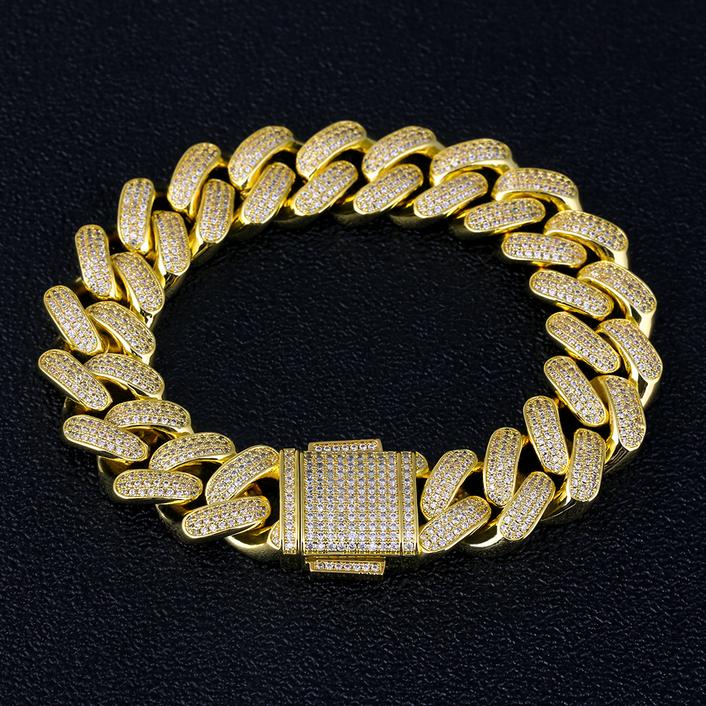 KRKC&CO Gold Plated Jewelry Bracelet 18MM Diamond Iced Out Cuban Link Chain Bracelet
