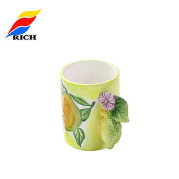 Custom Fruit Pattern  Logo Unique Ceramic Mug With Personalise Handle