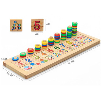 Children Wooden Materials Learning To Count Numbers Matching Early Education Teaching Math Toys Unisex Wood Game Cube