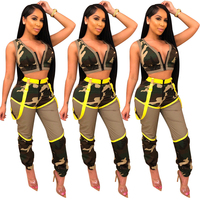 09293NA OSINA fashion sexy front zipper summer woman camo pants and crop two piece club set