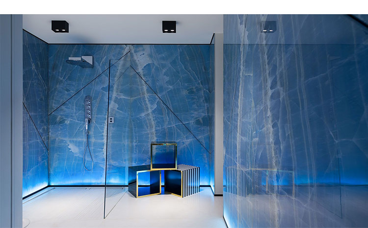 Interior feature wall cladding and flooring luxury blue onyx marble slab