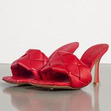 FOREADA/женские шлепанцы на платформе и очень высоком тонком каблуке, эспадрильи с квадратным носком, дамские сандалии красного цвета, размер 43(Китай)
