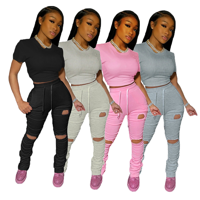 Best Selling Solid Color Crop Top Pleated Stacked Pants Sets Women Two Piece Ripped Hole Casual 2 Piece Sets