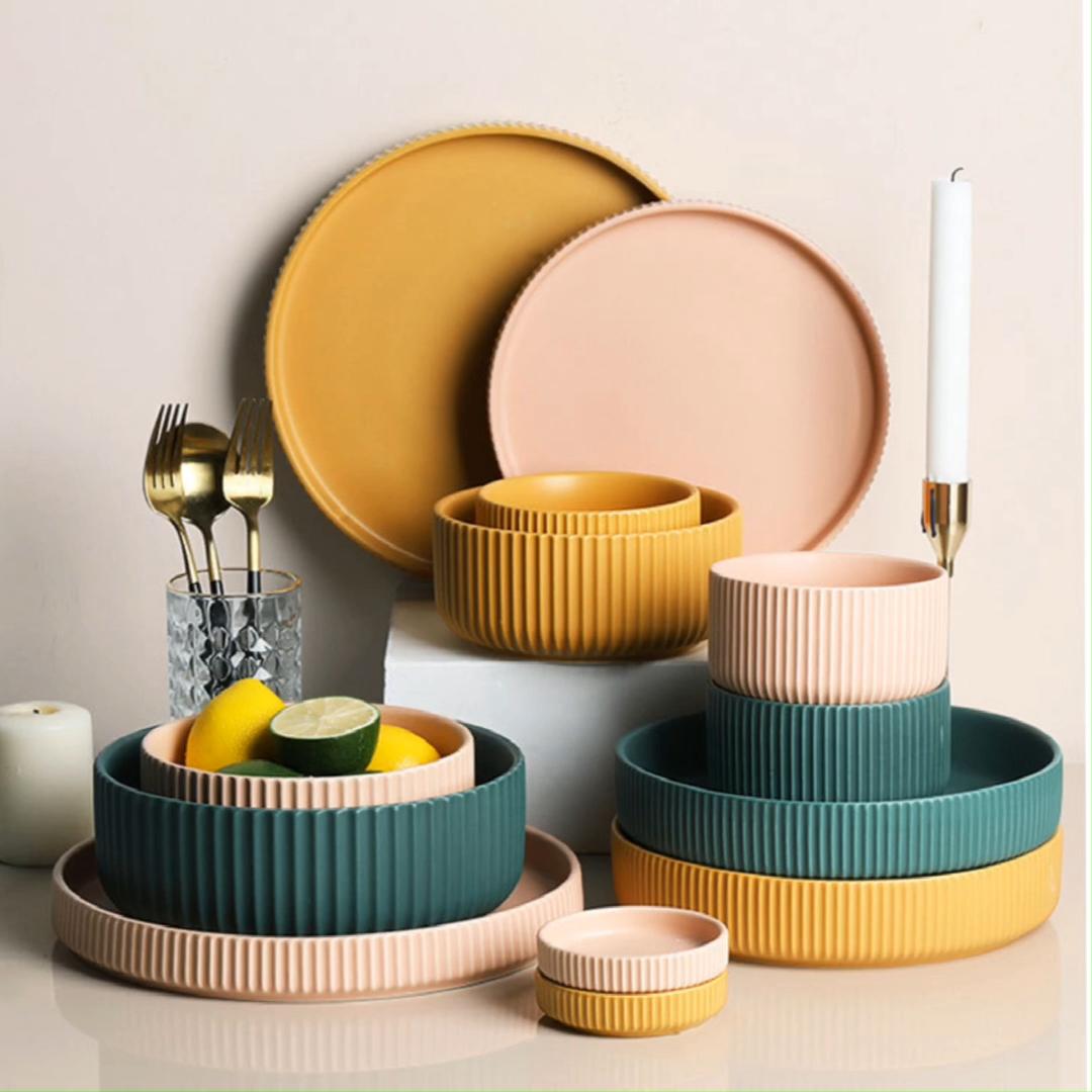 Matte Brown Hand Painted Stoneware Tableware Sets Wholesale Ceramic Dinnerware