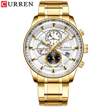 Мужские часы CURREN, новые модные часы из нержавеющей стали, люксовый бренд, многофункциональный хронограф, кварцевые наручные часы, Relogio Masculino(China)