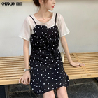 2019 Summer women dress short sleeves chiffon top and Bow-tie spaghetti straps casual dress