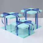 Luxury food grade square plastic PET transparent wedding cake boxes