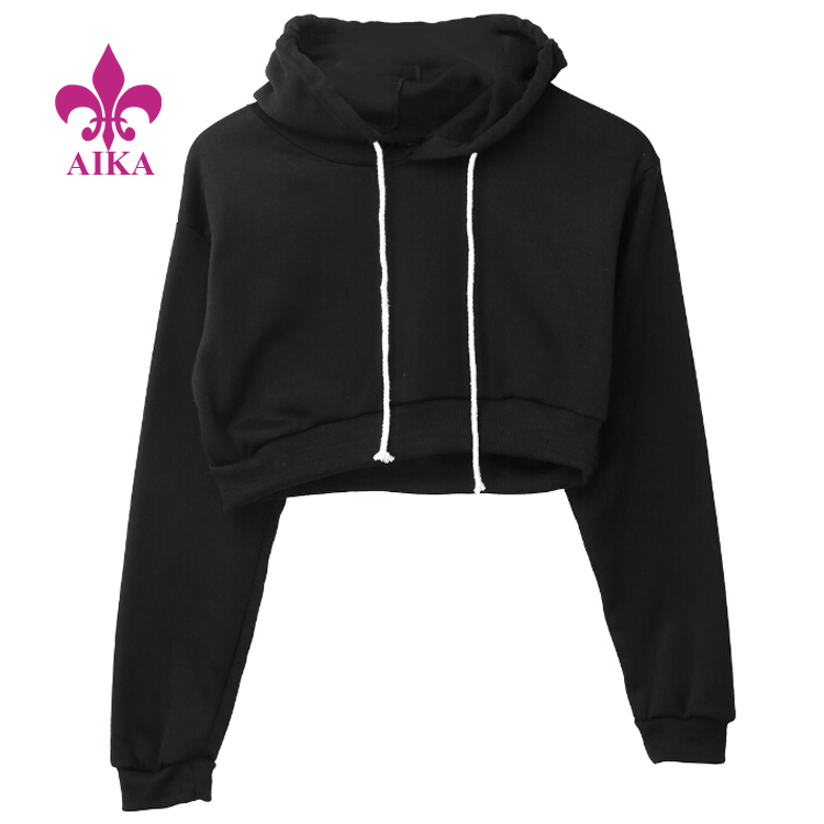 Full Hoodie Coats Black Autumn New Brief Casual Clothes Women Ladies Clothing Tops Plain Crop Top Hooded