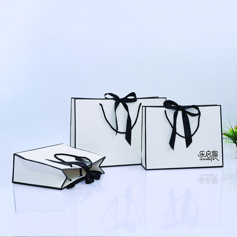product-Black White Simple Generous 10 X 5 X 13 Custom Size Gift Paper Bags With Handles For Jewelry-1