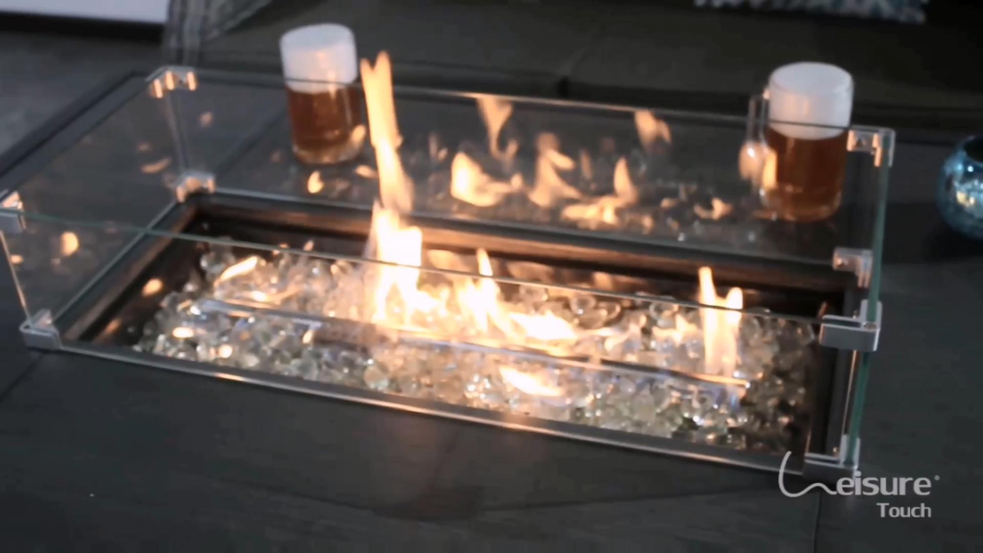 Tuin Sofa Set 4 Zits Keramische Top Patio Outdoor Gas Vuurkorf