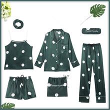 2020 халаты наборы 7 шт кимоно халат сексуальное ночное белье Свадебный пеньюар халат подружки невесты халаты камзол брюки H108(Китай)
