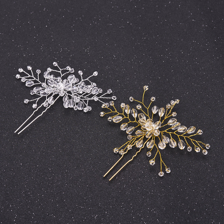 Bridal Luxury Full Crystal Hairpin Flower Handmade Wedding Hair Pin U-Shaped Hair Fork