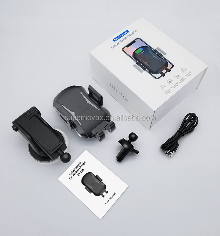 Bulk Car Wireless Charger 15W for Iphone X for Samsung Mobile Phone Clamp Holder Car Mount Qi Wireless Charger