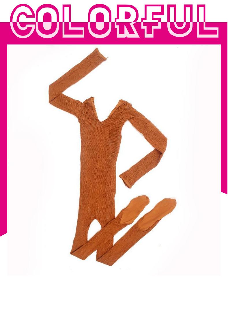 BT00082 Kadın Latin Dans Tayt Mesh Külotlu Latin Dans file çoraplar Siyah Tan Renk Latin Dans giyisi
