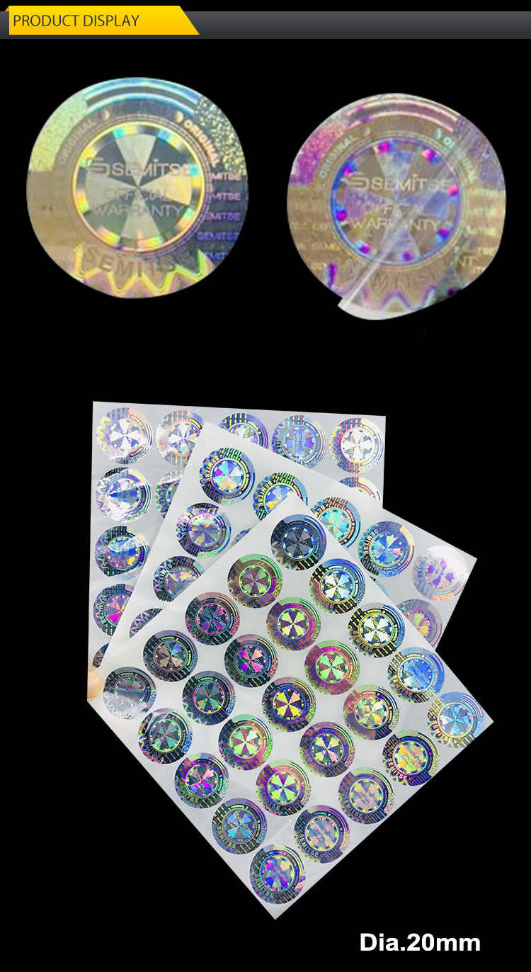 Custom Hologram nails bottle Lids Gifts Packaging ID overlay making Logo Mark Brand Green Holographic Label Sticker