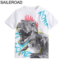 SAILEROAD футболки для мальчиков 8 лет с вышитым животным, крокодилом, топы, футболки, летняя детская одежда, хлопковые рубашки для девочек 2019(Китай)