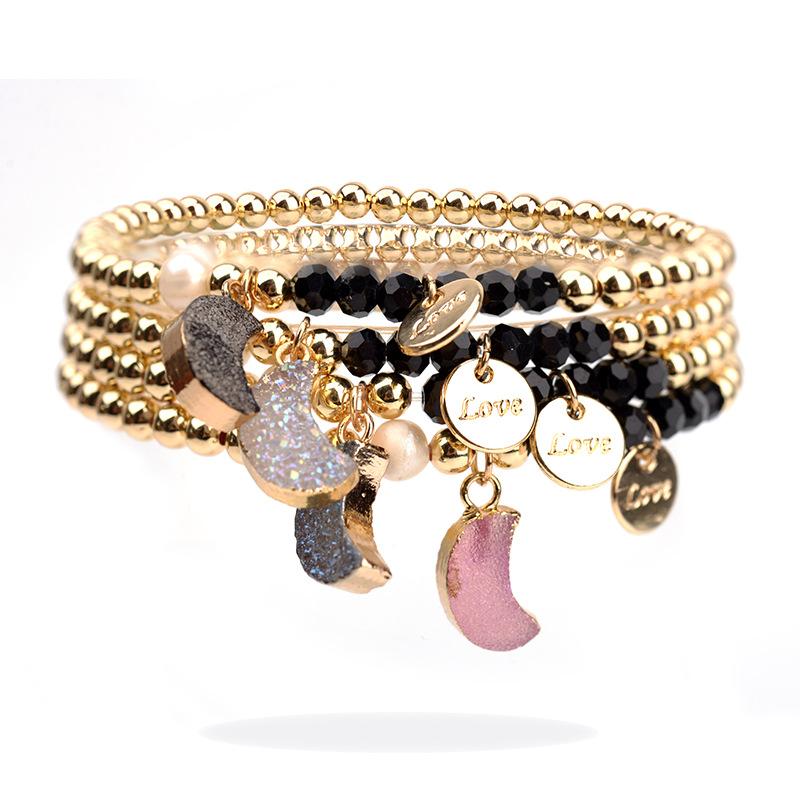 Amazon Electroplated Gold Copper Bead String Black Crystal Bracelet Crystal Cluster Agate Pendant Bracelet Wholesale