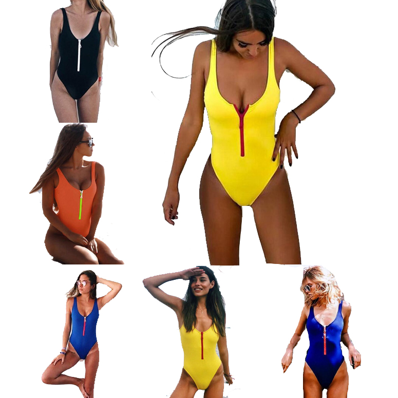 Women Plain Zipper Swimsuit One Piece Swimsuits thong bikini ladies sexy bathing suits