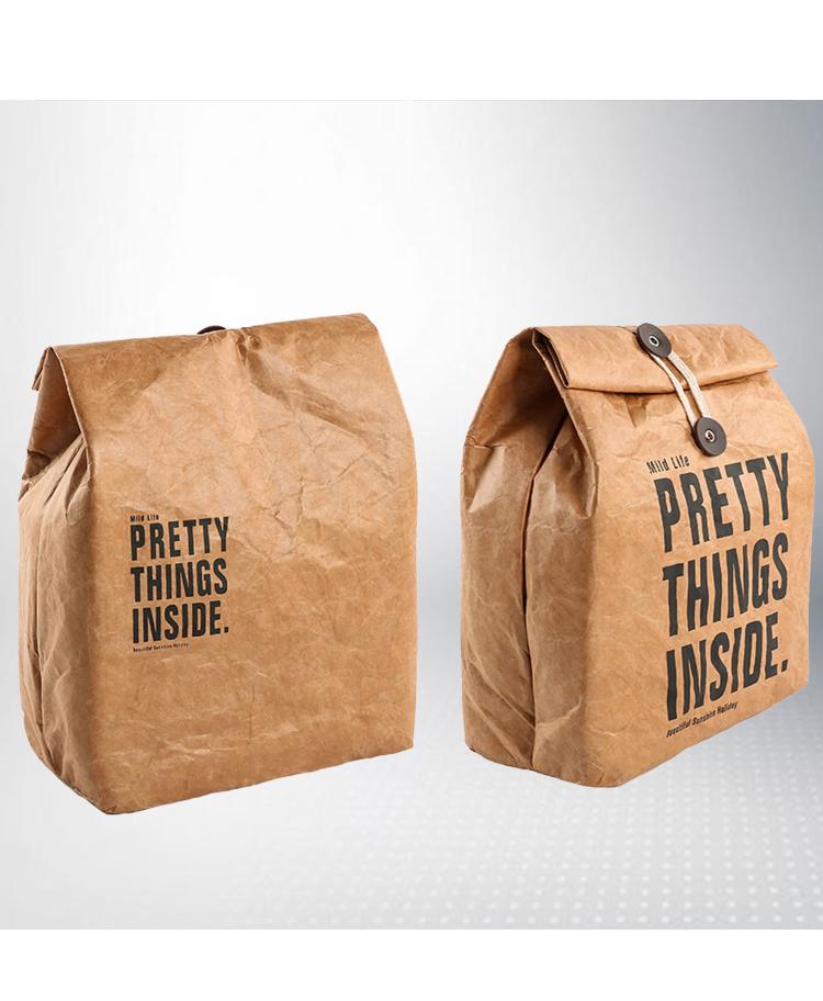 Atacado Logotipo Personalizado Impresso Adversting Mercearia Compras reutilizáveis Eco Friendly Tyvek Embalagem de Presente de papel kraft saco da folha de almoço