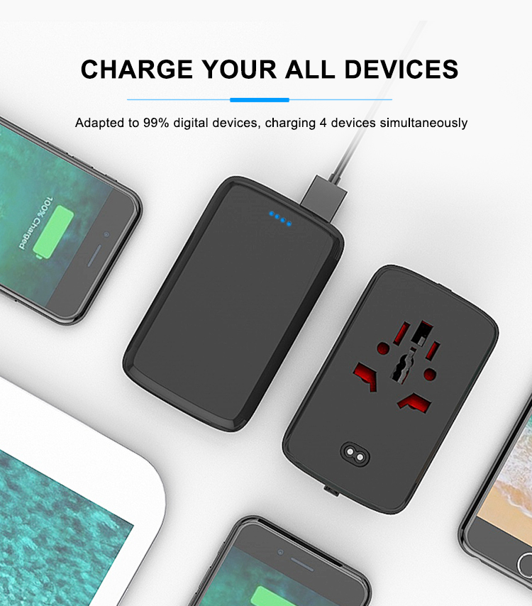2019 Baru Kedatangan Portabel Charger Universal Travel Adapter dengan 5000 MAh Power Bank