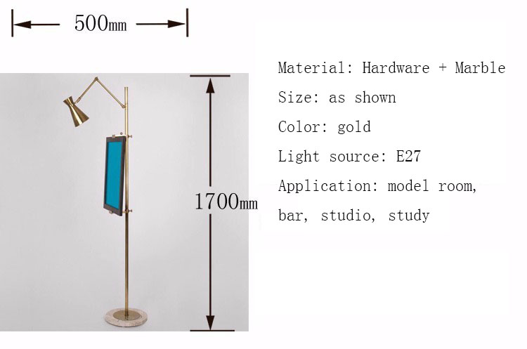 Post-modern luxury bedroom golden LED floor lamp new Chinese style drawing board vertical light