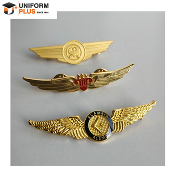 Custom metal aviation airline uniform logo pilot wings pin badges