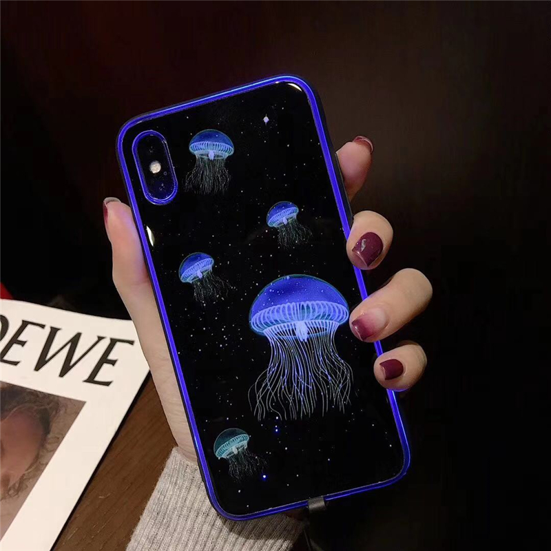 Fashion luminous tempered glass logo glow phone case for iphone X Wholesale  accessories creative back cover for iphone 11 case