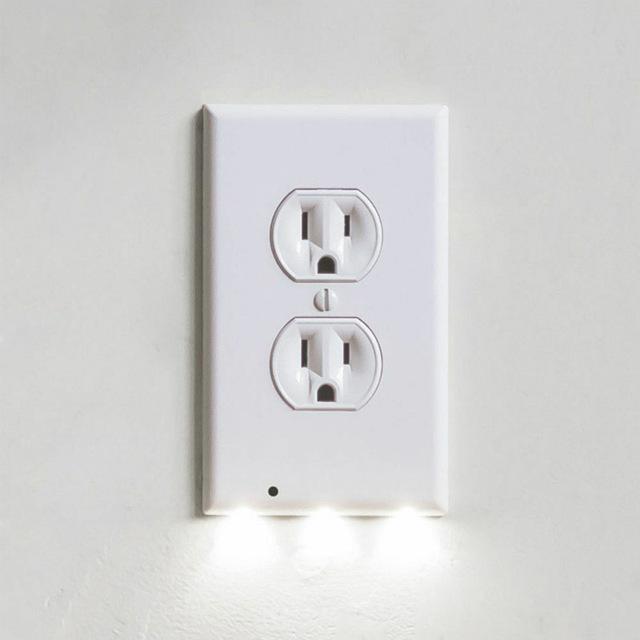 PC 커버 벽면 내장 LED 가이드 조명 콘센트 야간 센서 세트 월 플레이트 스냅 커버 플레이트