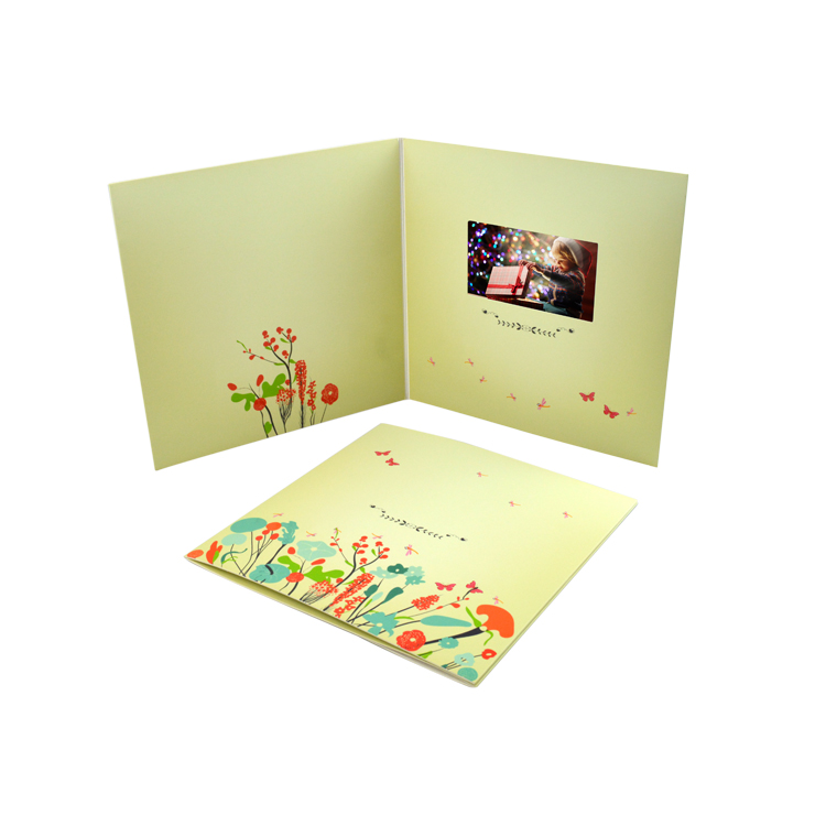 customized festival printing paper craft 4.3 inch invitation lcd display brochure Christmas birthday video greeting card