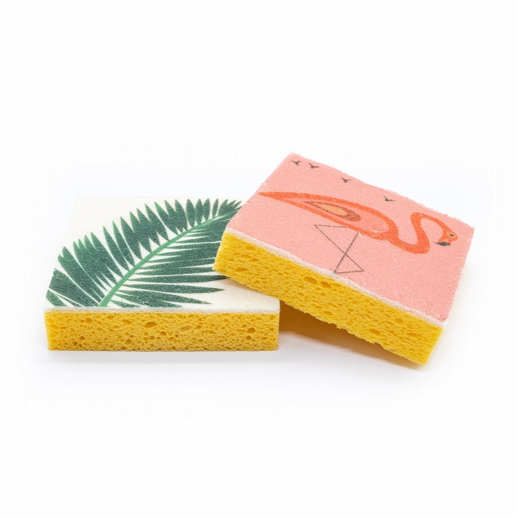2 pcs printed cellulose cleaning sponge for kitchen and bathroom cleaning
