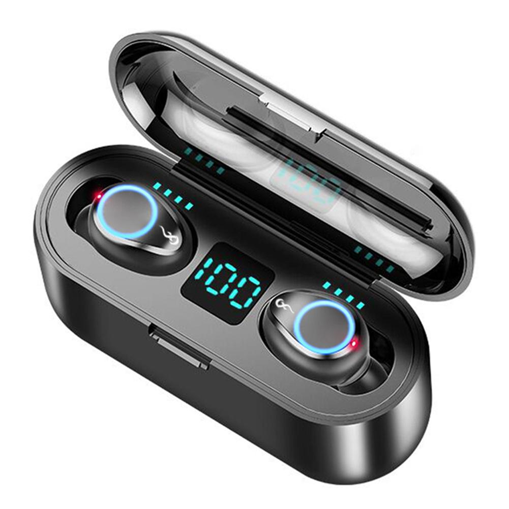 F9 TWS Breathing Light Smart Touch 8D Stereo Wireless Bluetooth Earphone 5.0 LED Display With Dual Microphone 2000 MAh Charging - idealBuds Earphone | idealBuds.net