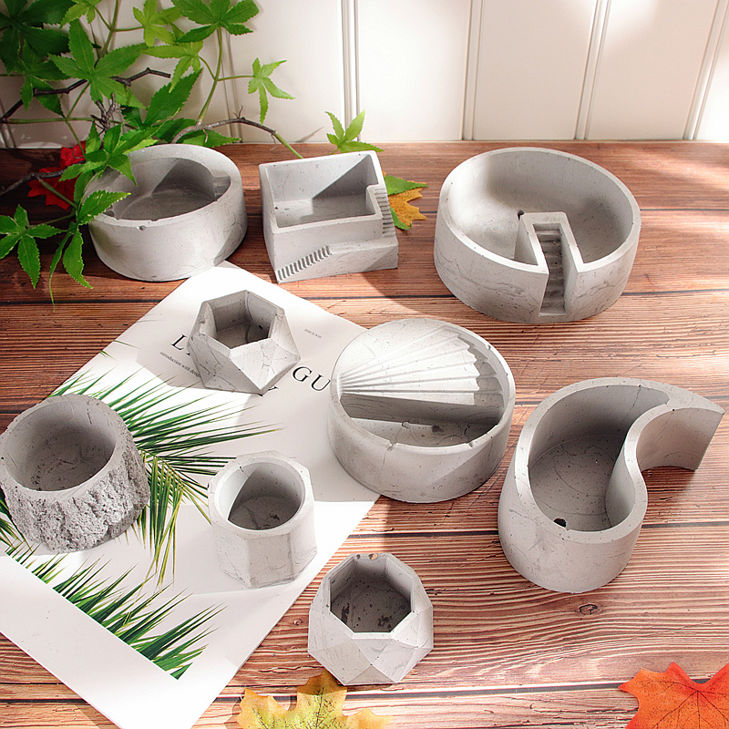 Geometric Polygonal Concrete Pot Vase Decor Clay Silicone Mold G