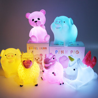 New INS Hot Sale Whale Dinosaur Deer Dog Pig Animal Soft Silicone Toy Led Sleep Night Light Mini Cartoon Cute Baby Nightlight