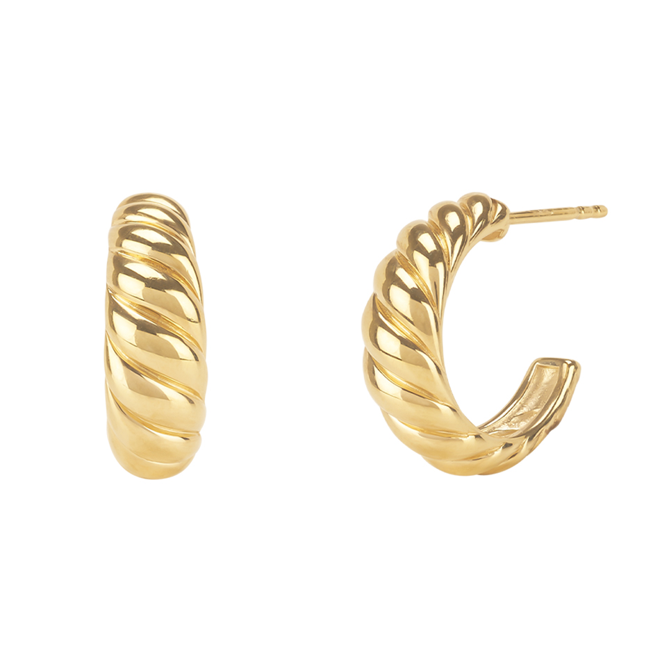 Fashion Silver Earring Jewelry 925 Sterling Silver Twisted Dome Earrings 18K Gold Vermeil Croissant Dome Earrings Hoop