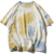 Shoulder Drop Lovers Multicolor Tie-dye Short Sleeve T-shirt