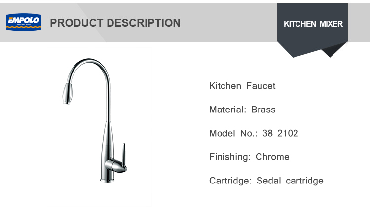 Contemporary built in 0.1~1.6MPa Deck Mounted Brass Single Hole Economic Chrome Kitchen Water Sink Mixer Faucet Tap
