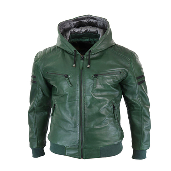 Green Color Leather jackets Zipper With Hooded Collar Casual Wear Quick dry Leather jackets
