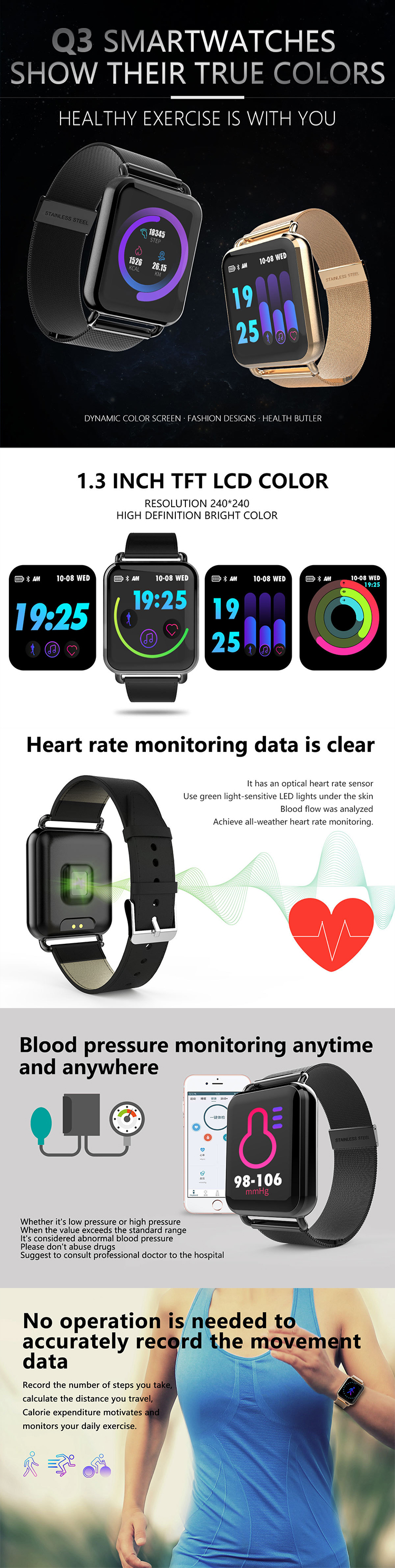 Color screen smart wristband 1.3-inch screen IP68 waterproof pace-meter heart rate information push to replace the background