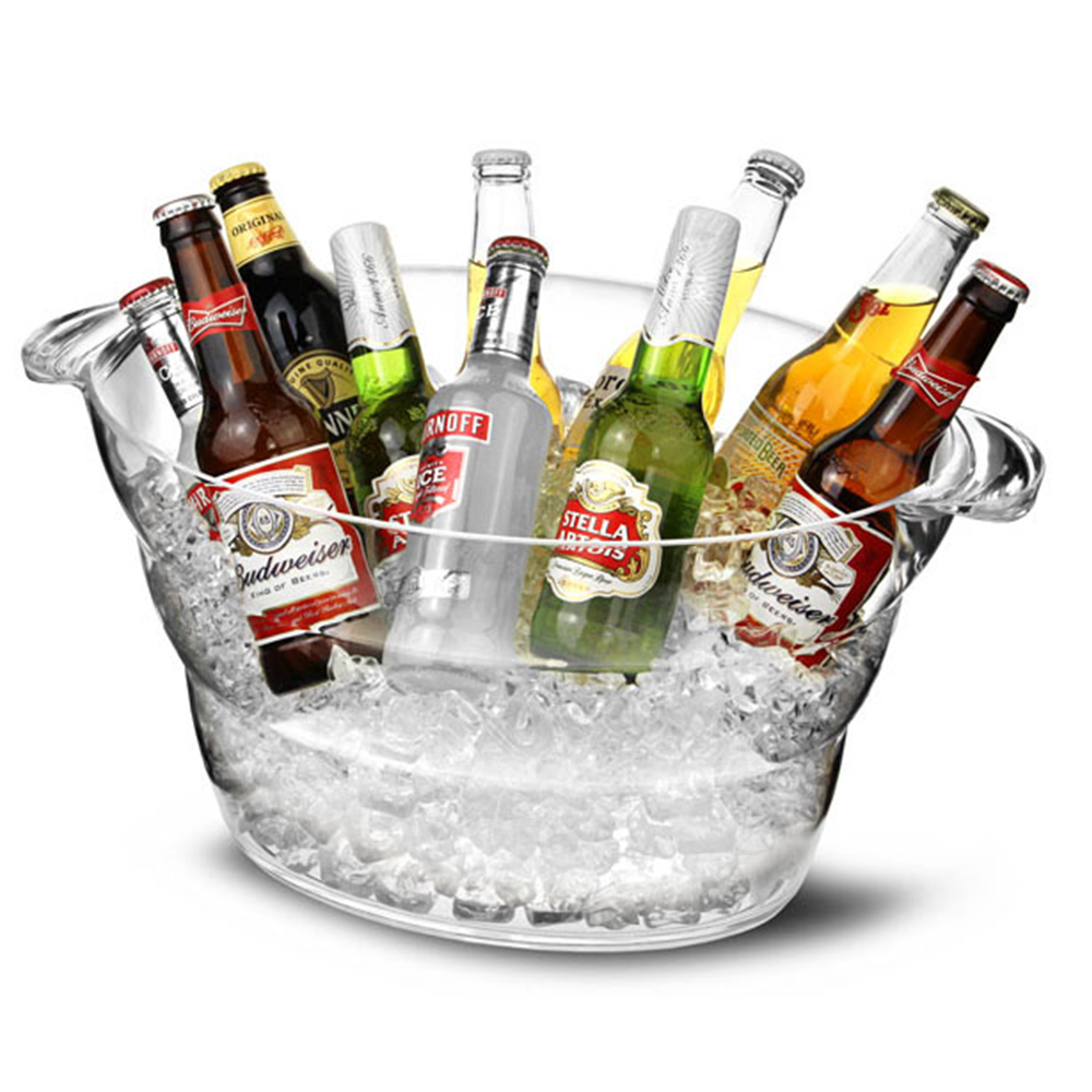 Festa do Vinho Acrílico transparente Banheira 12L Balde Refrigerador de Vinho