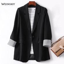 Женский клетчатый пиджак с длинным рукавом, Модный деловой пиджак для работы и офиса, весна 2020(Китай)