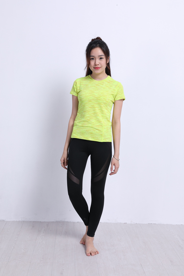 Women's  Yoga Fitness  Gym round collar springy Sports T Shirts